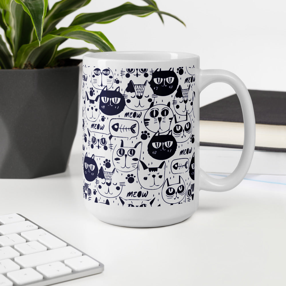 Blue and White Coffee Mug with Cat Face