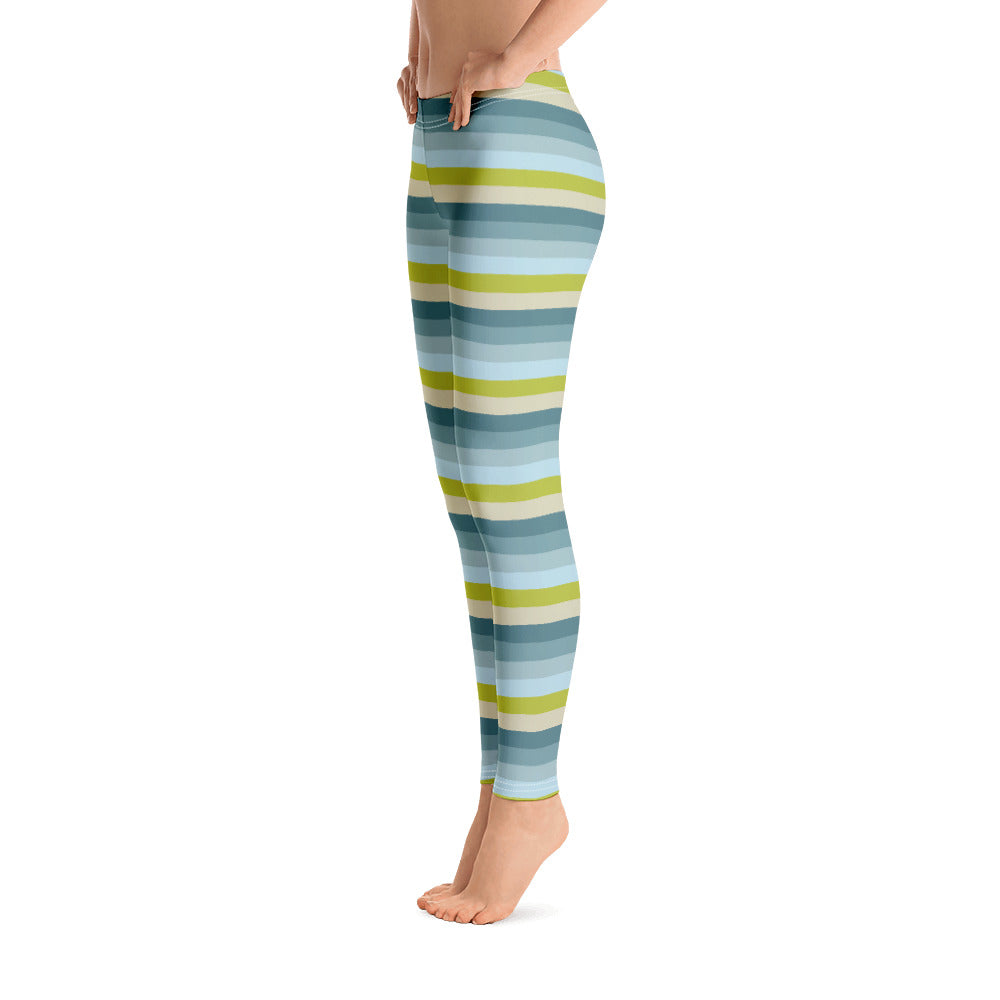 Lemon Green Striped Leggings for Women Left