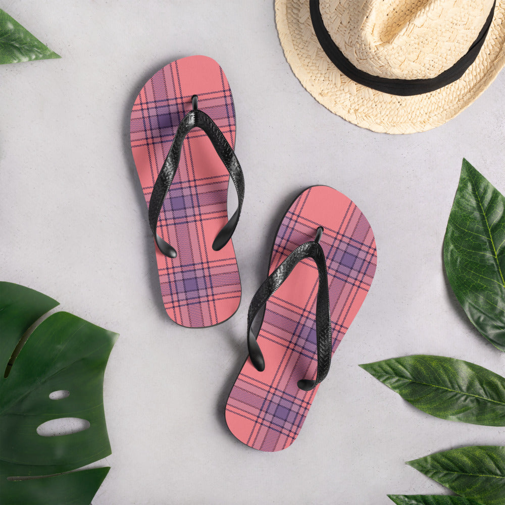 Salmon Pink And Purple Plaid Flip-Flops