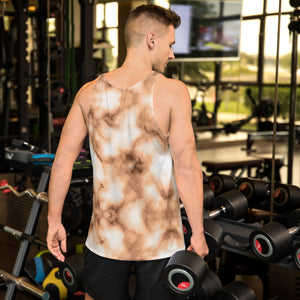 Brown and white Marble Unisex Tank Top