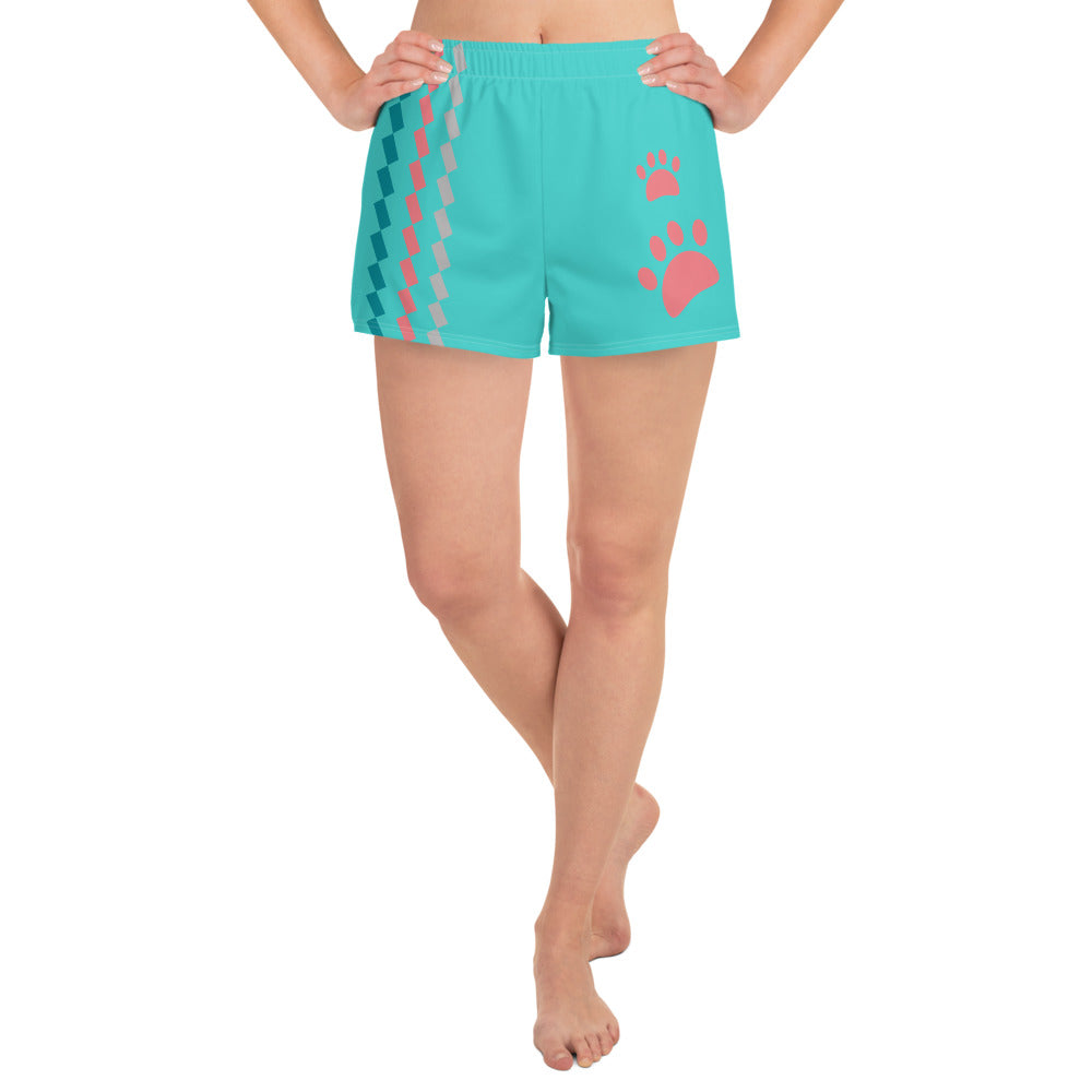 Turquoise and Pink Pet Lover Athletic Shorts for women