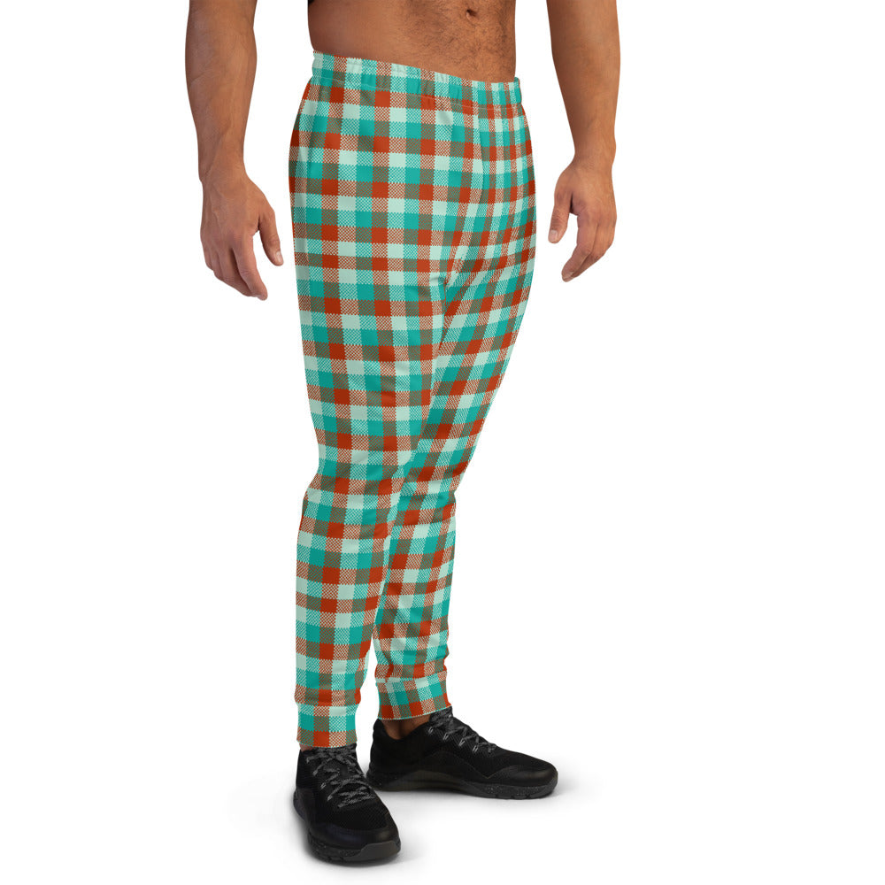 Red Green Plaid Men's Joggers