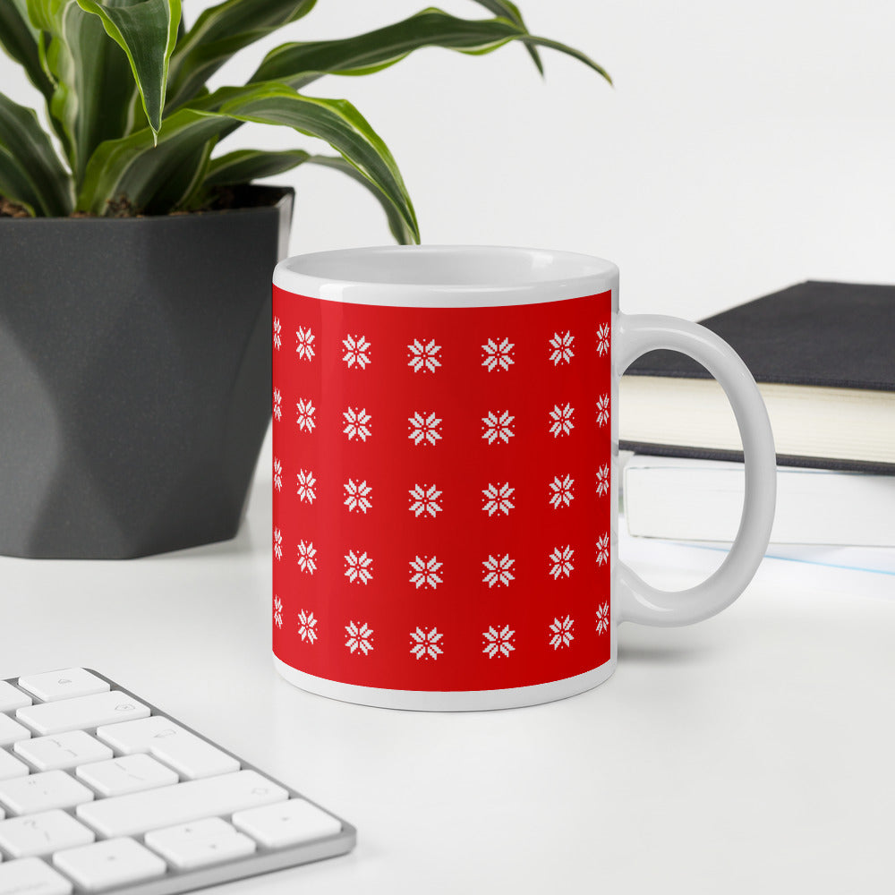 Red Christmas Coffee Mug with White Snow Flakes