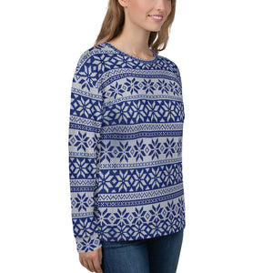 Winter Pattern Blue Sweatshirt for Women