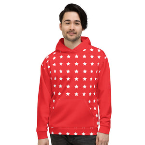 Red and White Star Christmas Unisex Hoodie