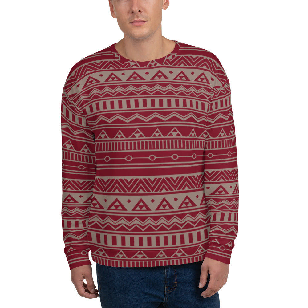 Gray and Maroon Ethnic Unisex Sweatshirt