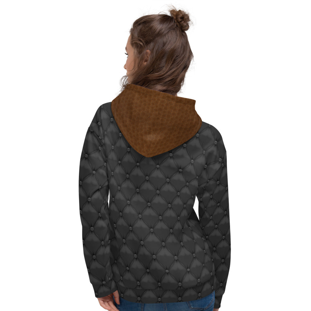 Black and Brown Leather Texture Hoodie