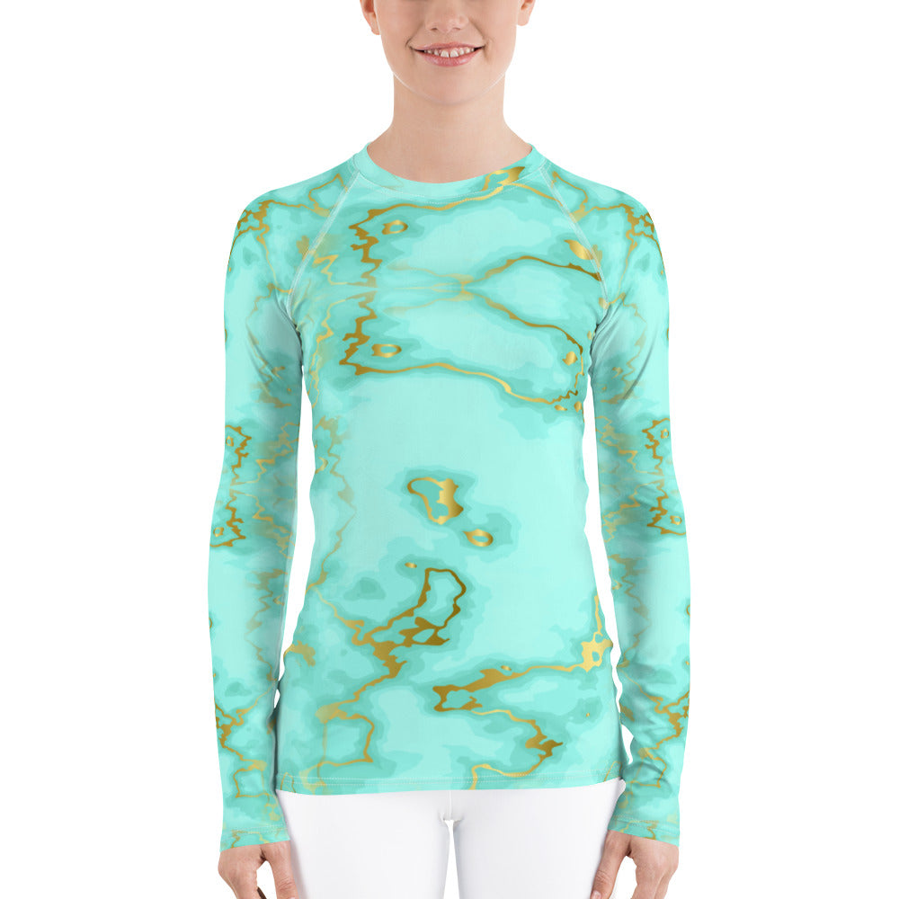 Turquoise and Gold Women's Rash Guard
