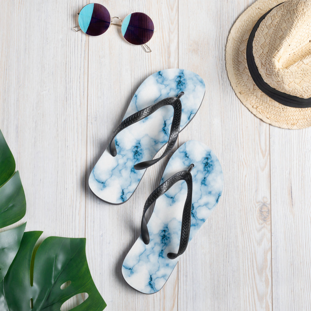 Light Blue Marble Flip-Flops