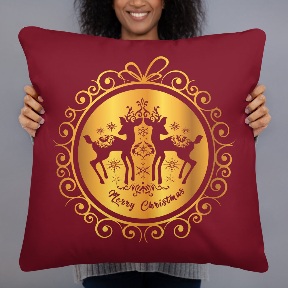 Reindeer Christmas Ball Throw Pillow