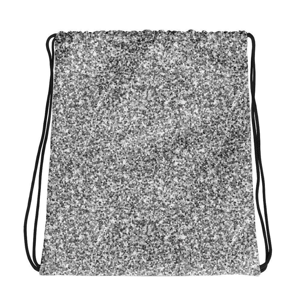 Silver and Gray Glittery Drawstring bag