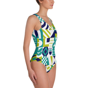 Blue Green and White Abstract One-Piece Swimsuit