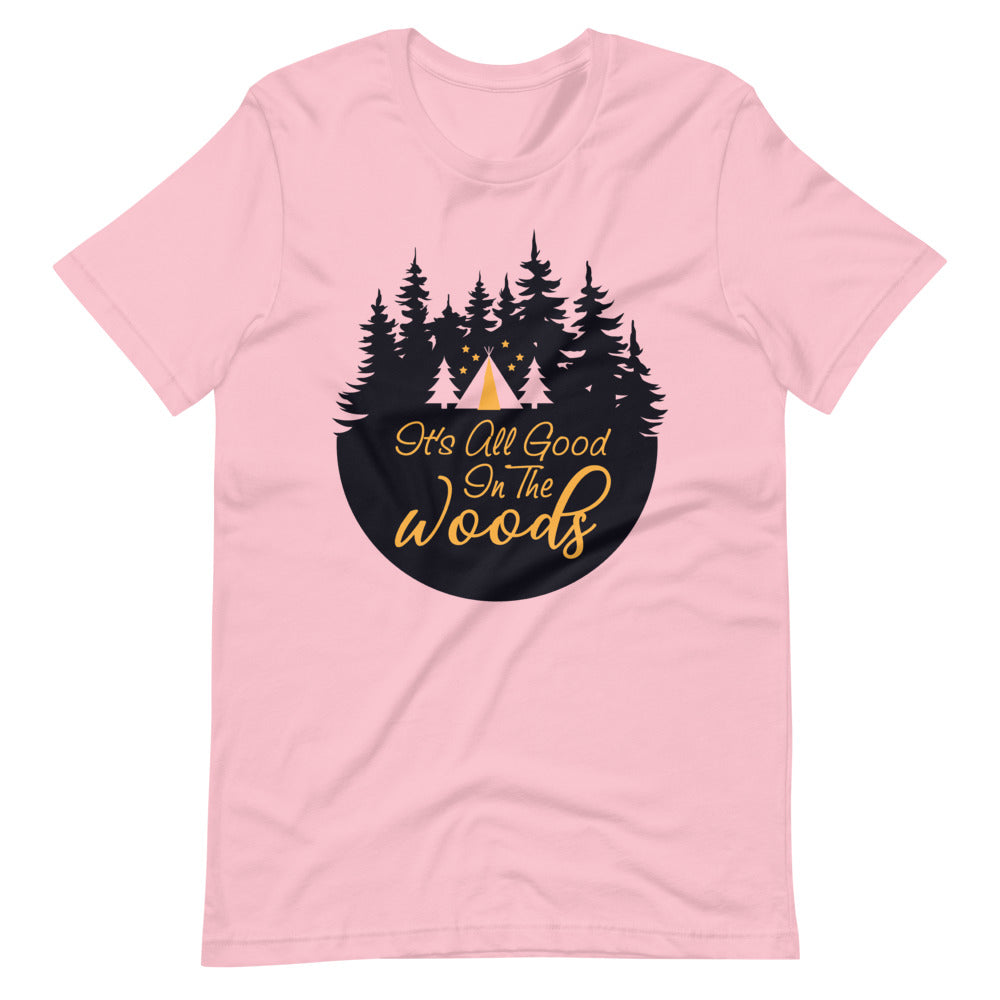 Camping in the Woods T-Shirt Pink