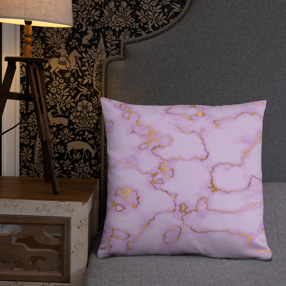 Purple and Gold Marble Throw Pillow