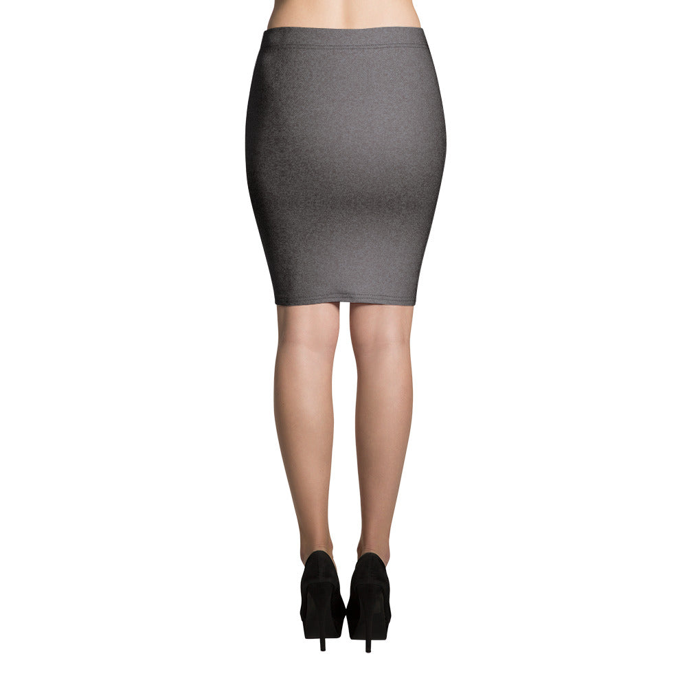 Black Shaded Denim Pencil Skirt