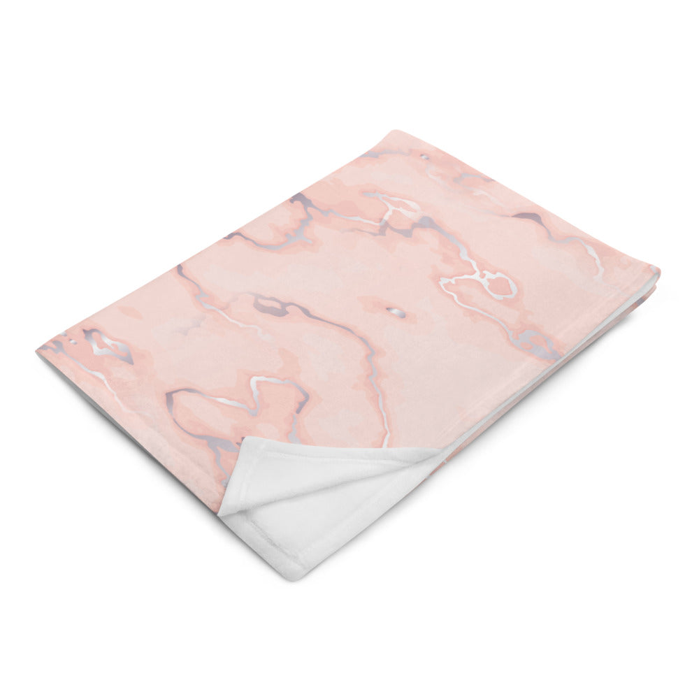 Coral Pink and Silver Marble Throw Blanket