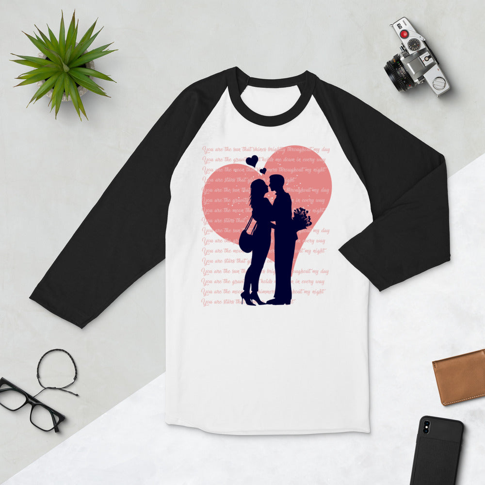 Heart Couple Valentine's Day 3/4 sleeve raglan shirt