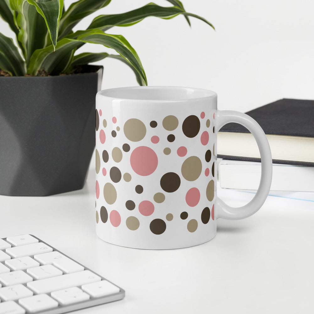 Pink Gray Dot Coffee Mug