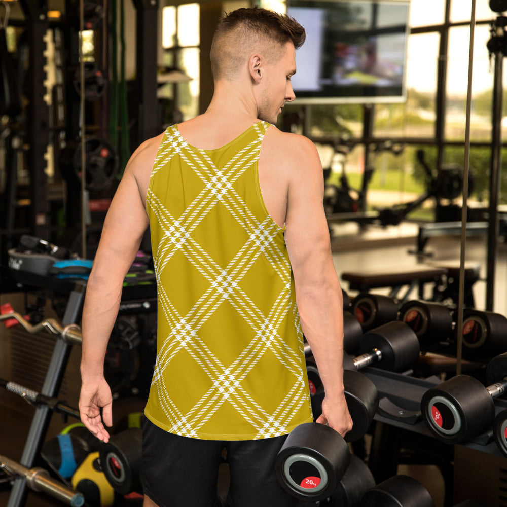 Yellow and White Plaid Unisex Tank Top
