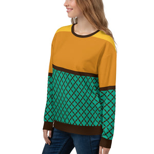 Vintage Turquoise and Orange Sweatshirt for Women