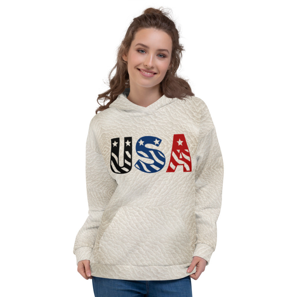 USA White Leather Hoodie Womens