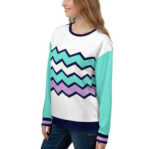 Turquoise, Blue and Lilac Colored White Sweatshirt for Women