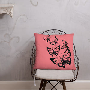 Pink And Black Butterfly Double-sided Throw Pillow
