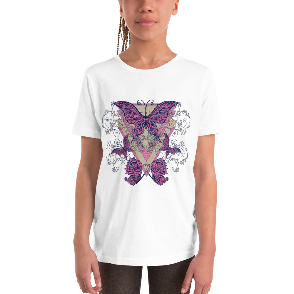 Pink Butterflies White T-Shirt for Girls