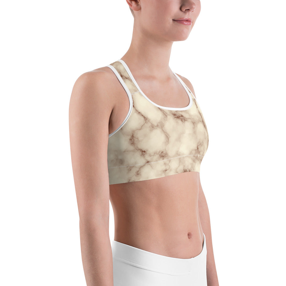 Brown and Cream Sports bra