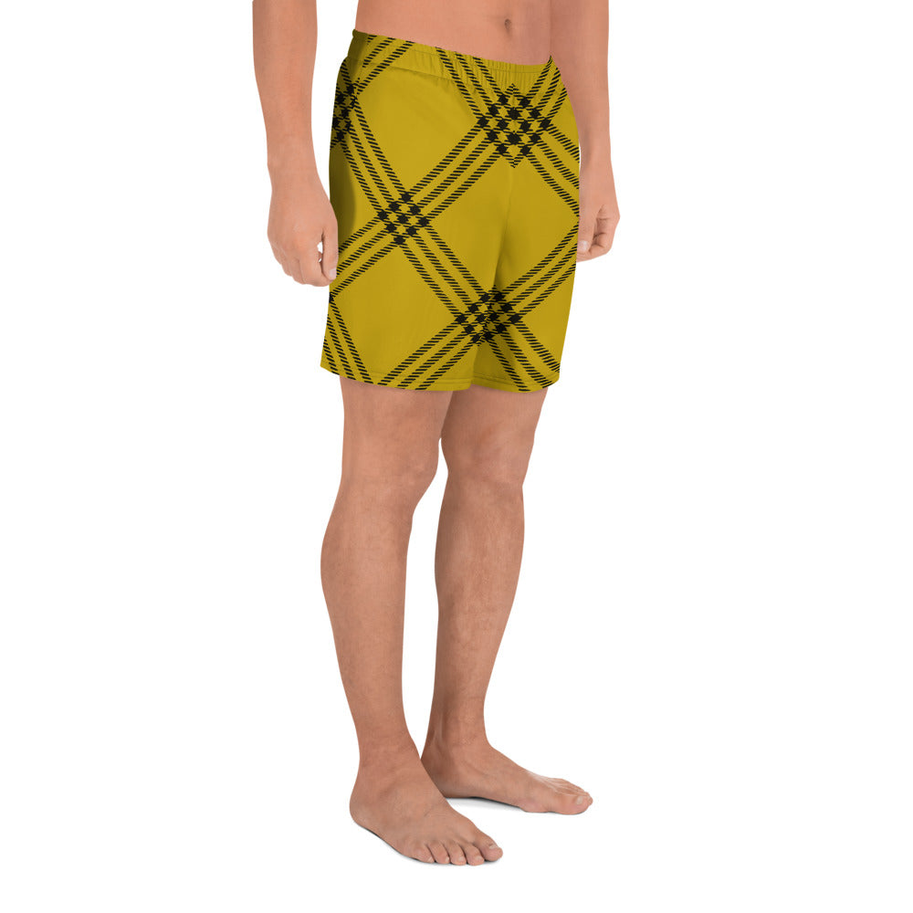 Yellow and Black Plaid Men's Athletic Long Shorts
