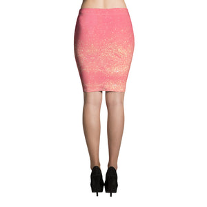 Pink and Golden Glittery Pencil Skirt