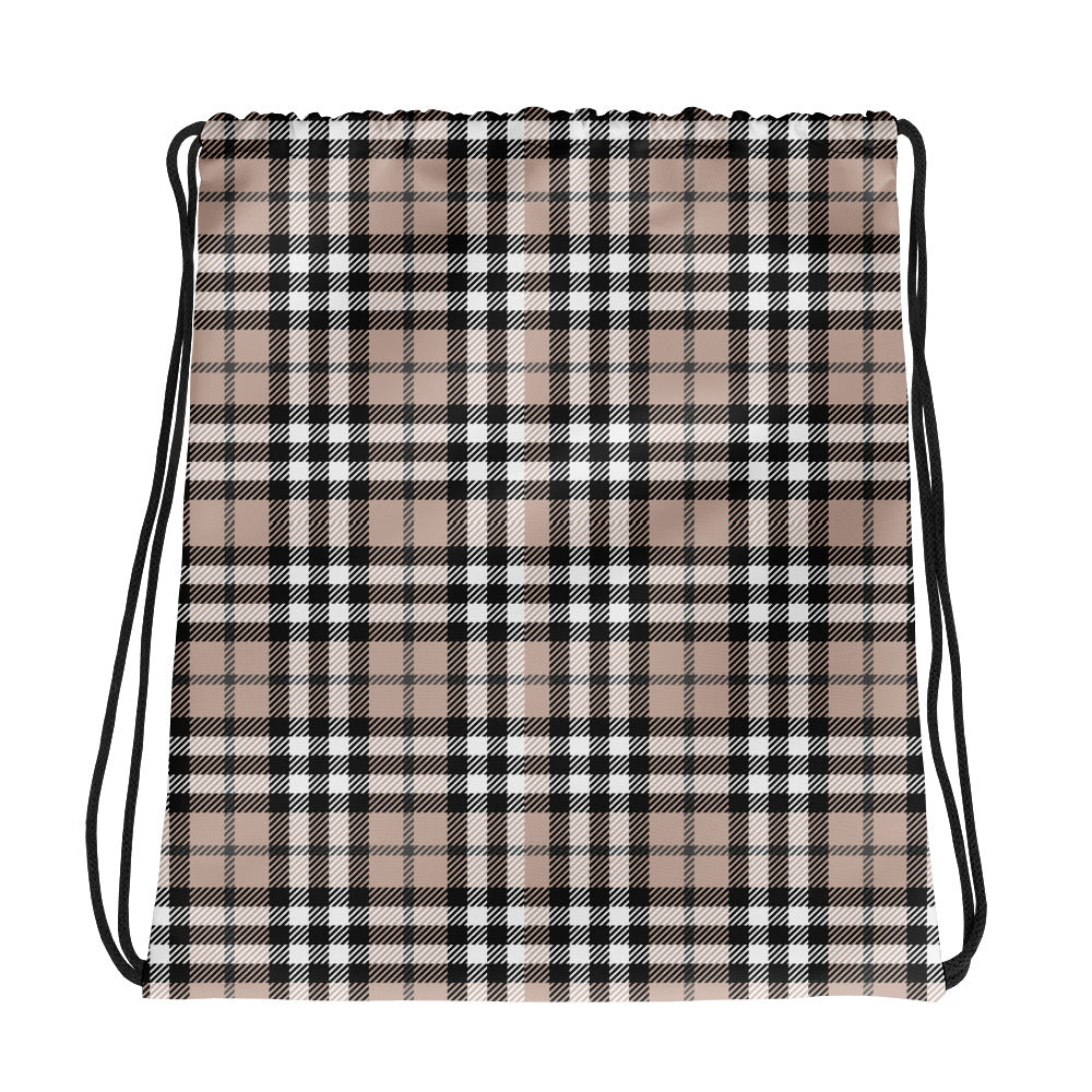 Black and Brown Scottish Tartan Drawstring bag