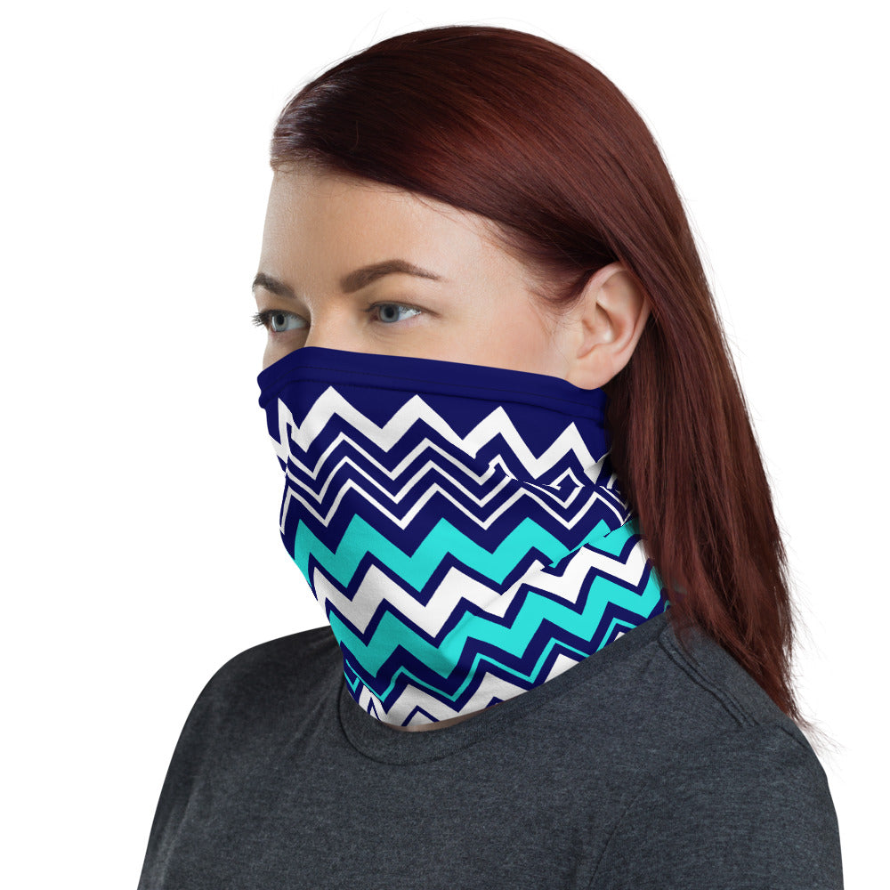 Beach Wave Chevron Pattern 4 in 1 Fabric Face Covering