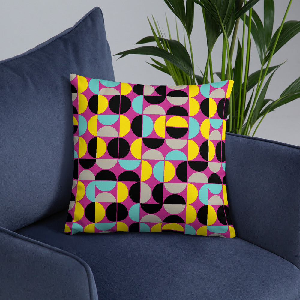 Pink and Yellow Seamless Throw Pillow for Modern Home