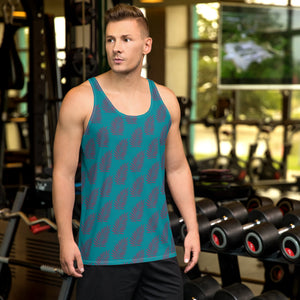 Teal and Purple Leaf Unisex Tank Top
