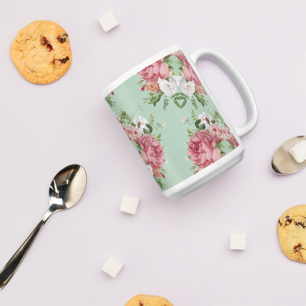 Mint Pink Floral Coffee Mug