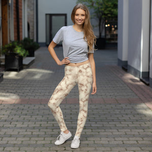 Girl wearing Brown and white Marble Leggings Womens