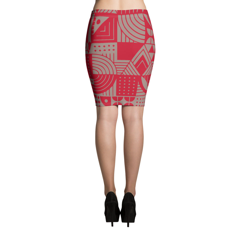 Red and Nude Pencil Skirt