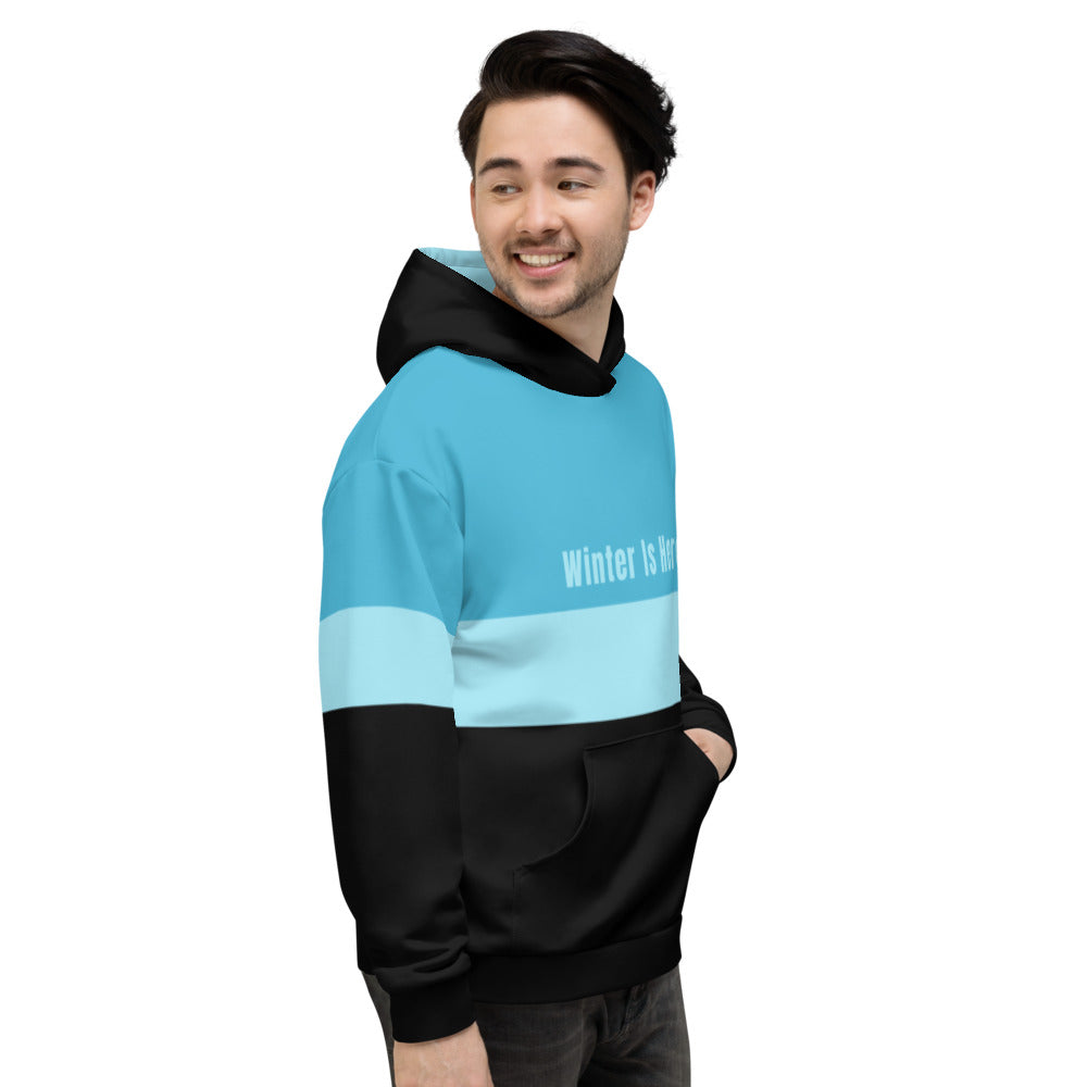 Ice Blue and Black Winter Unisex Hoodie