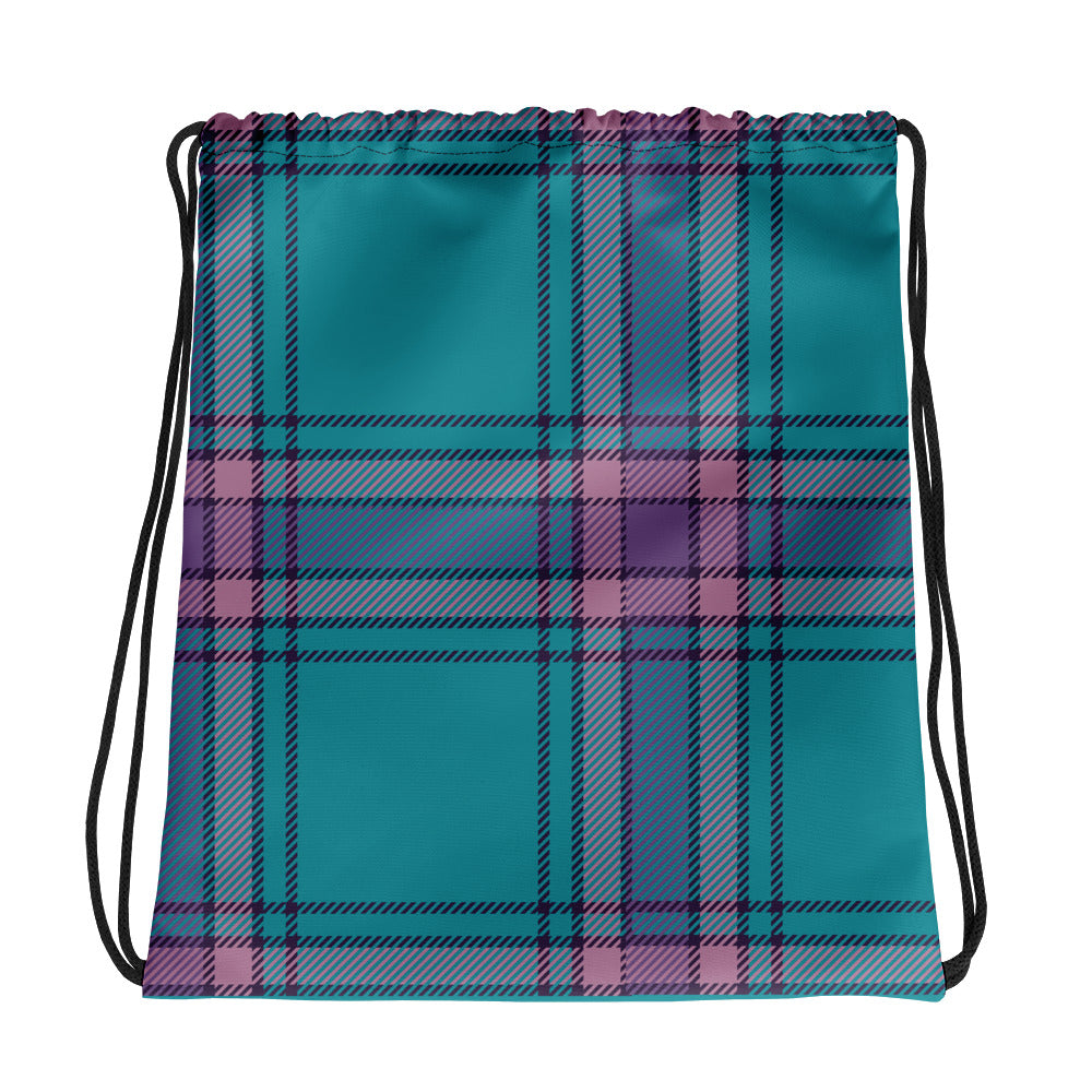 Blue and Purple Plaid Drawstring bag