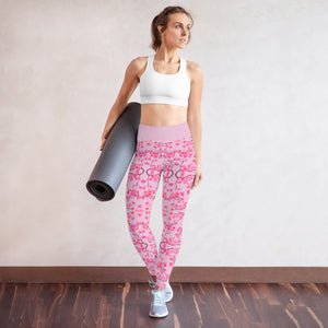 Spring Pink Floral Yoga Leggings