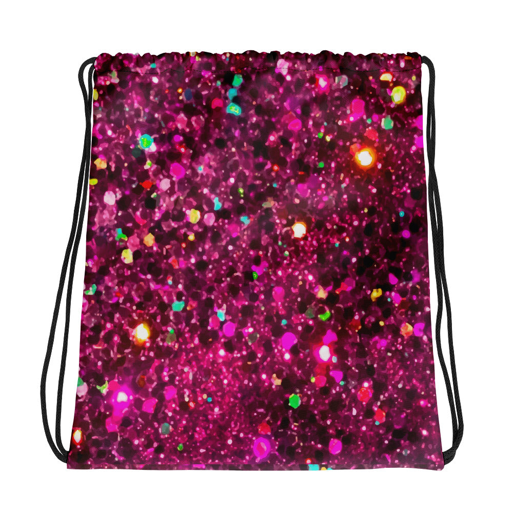Hot Pink Glittery Drawstring bag