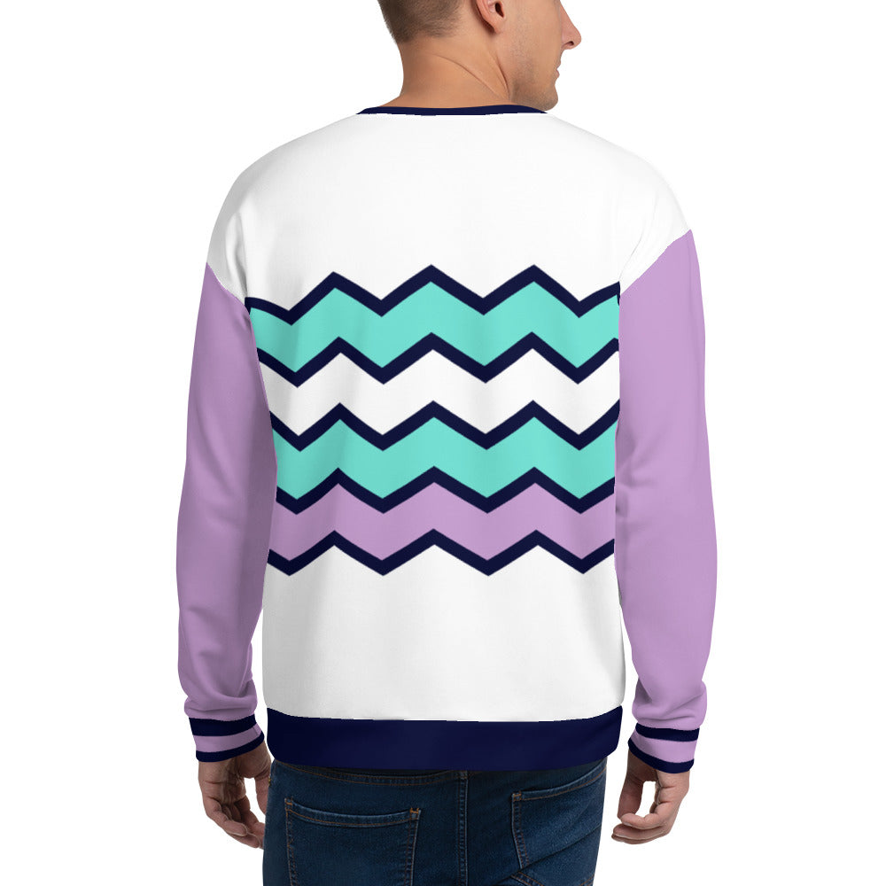 Turquoise, Blue and Lilac Colored White Sweatshirt for Men