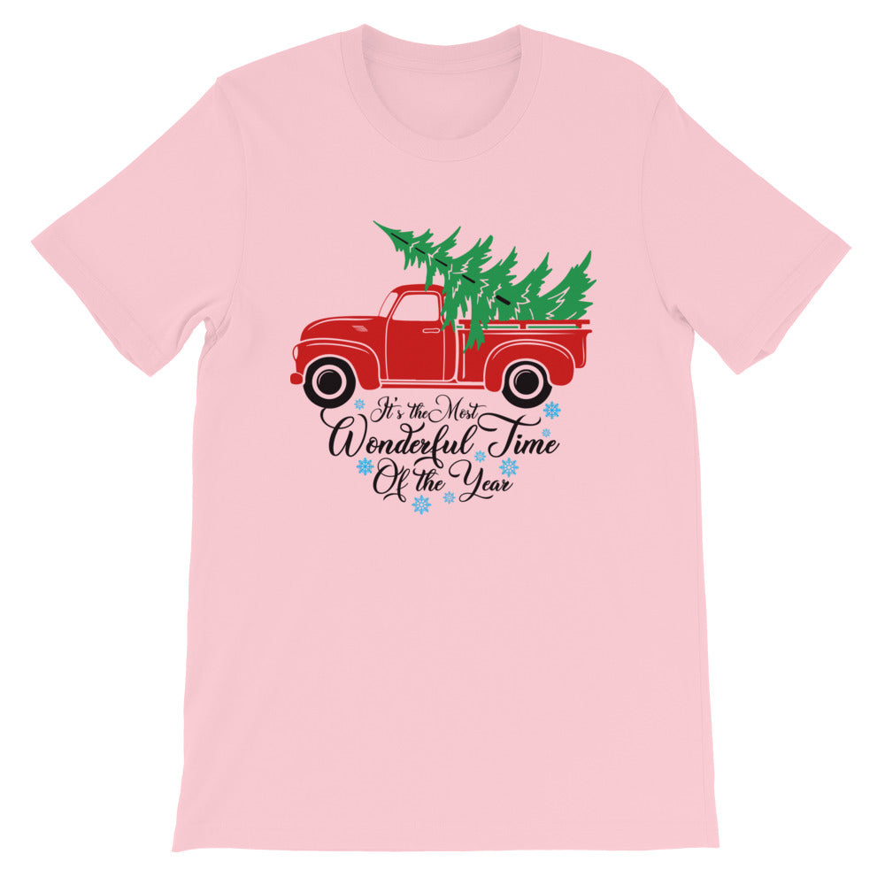 Vintage Red Truck Christmas Tree T-Shirt for Men
