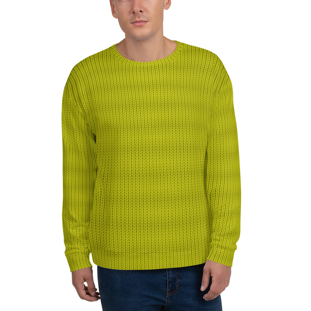 Lemon Green woolen Pattern Unisex Sweatshirt
