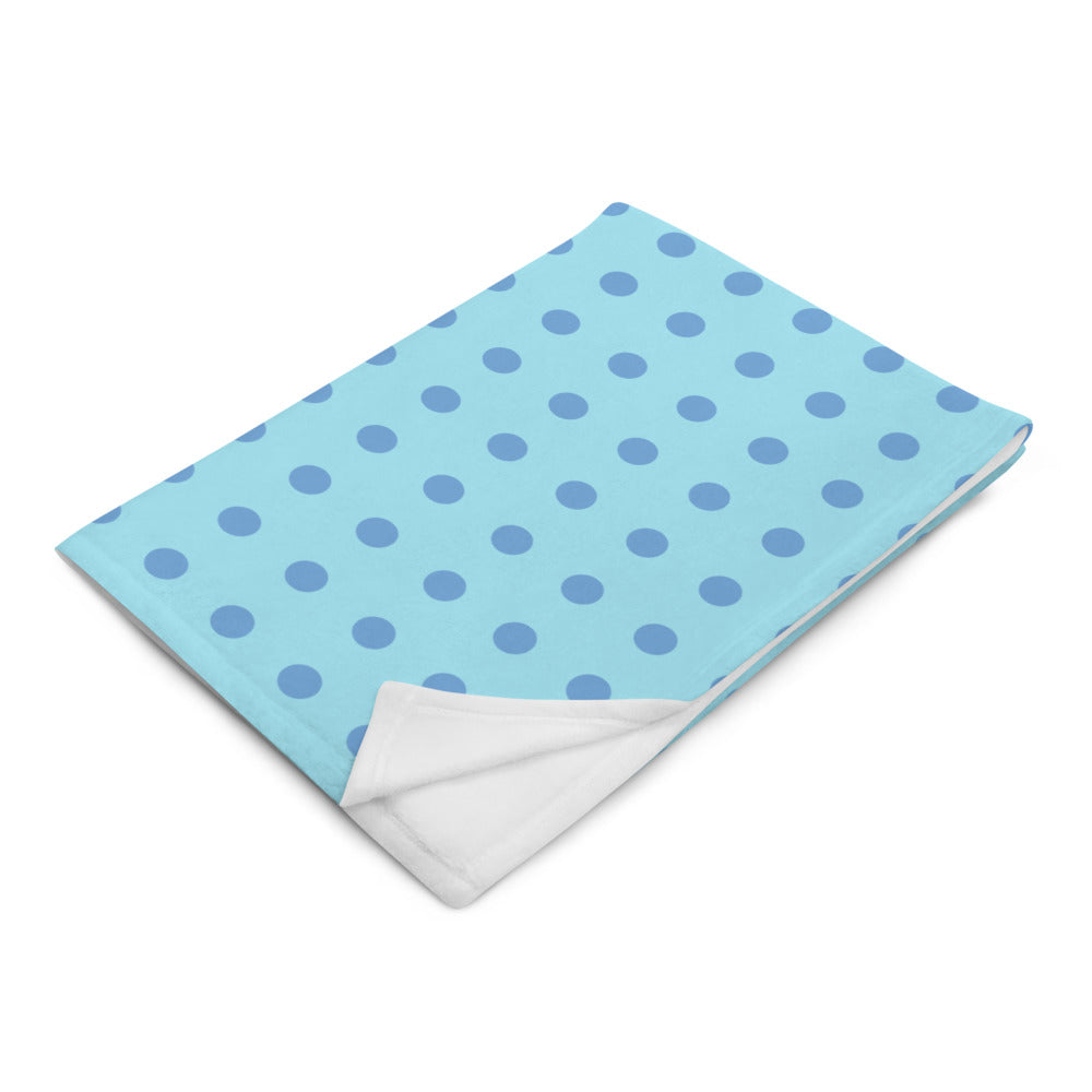 Polka Dot Throw Blanket in Teal and Vintage Blue Color