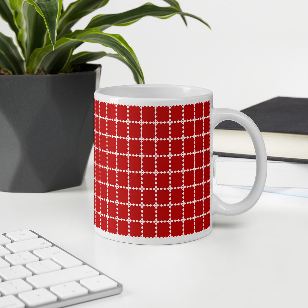 Red Seamless Pattern Christmas Coffee Mug
