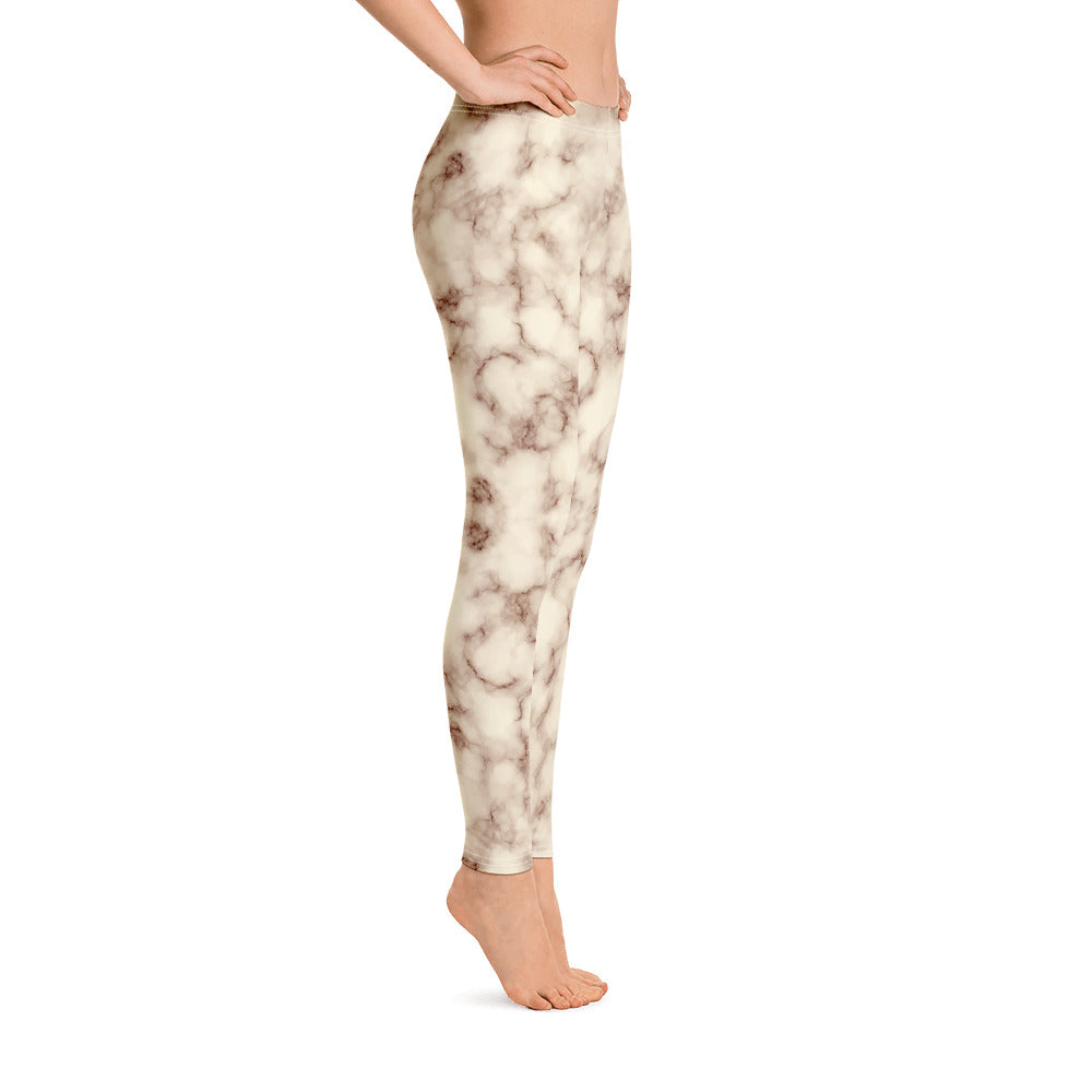 Brown and white Marble Leggings Womens Left