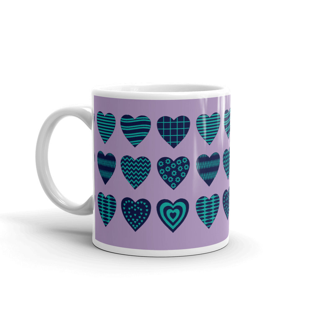 Purple Teal Heart Coffee Mug