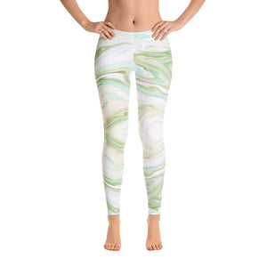 Green and White Marble Leggings Womens
